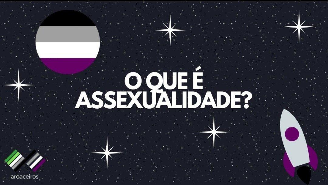 """Imagem de um céu estrelado com um planeta representando a bandeira assexual (quatro faixas coloridas - preto, cinza, branco e roxo). No canto inferior esquerdo, o nosso logo - as bandeiras aro e ace, com o texto aroaceiros. E no canto inferior direito, um foguete com as cores ace. O texto da imagem lê """"O que é Assexualidade?""""."""